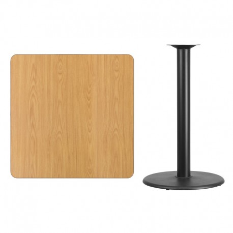 MFO 36'' Square Natural Laminate Table Top with 24'' Round Bar Height Table Base