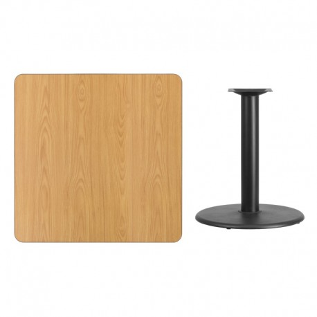 MFO 36'' Square Natural Laminate Table Top with 24'' Round Table Height Base