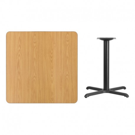 MFO 36'' Square Natural Laminate Table Top with 30'' x 30'' Table Height Base