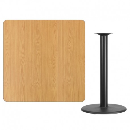 MFO 42'' Square Natural Laminate Table Top with 24'' Round Bar Height Table Base
