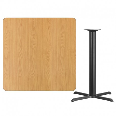 MFO 42'' Square Natural Laminate Table Top with 33'' x 33'' Bar Height Table Base