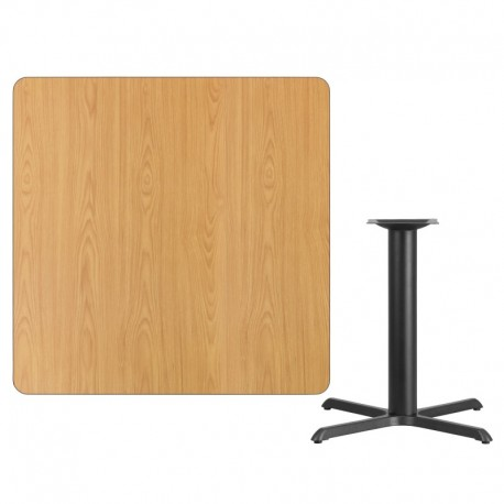 MFO 42'' Square Natural Laminate Table Top with 33'' x 33'' Table Height Base