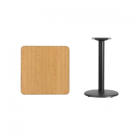 MFO 24'' Square Natural Laminate Table Top with 18'' Round Table Height Base