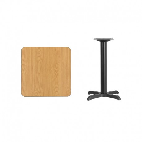 MFO 24'' Square Natural Laminate Table Top with 22'' x 22'' Table Height Base