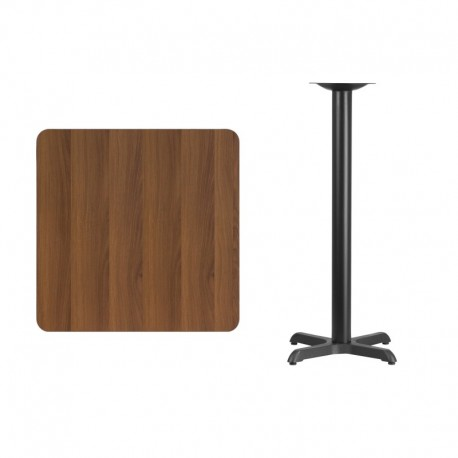 MFO 30'' Square Walnut Laminate Table Top with 22'' x 22'' Bar Height Table Base