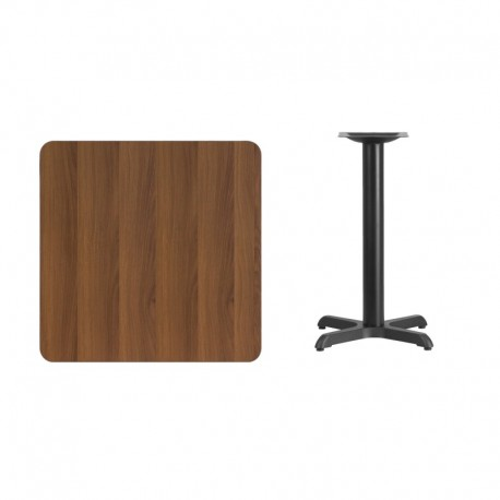 MFO 30'' Square Walnut Laminate Table Top with 22'' x 22'' Table Height Base