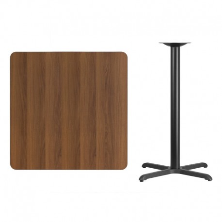 MFO 36'' Square Walnut Laminate Table Top with 30'' x 30'' Bar Height Table Base