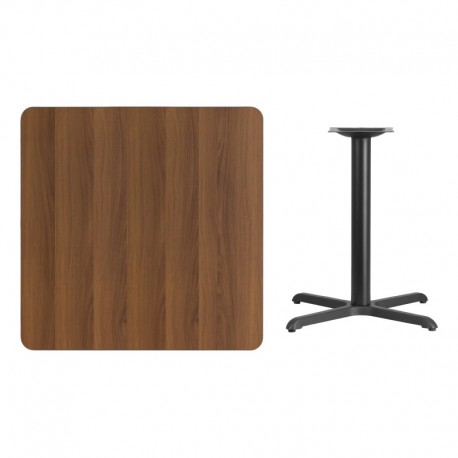 MFO 36'' Square Walnut Laminate Table Top with 30'' x 30'' Table Height Base