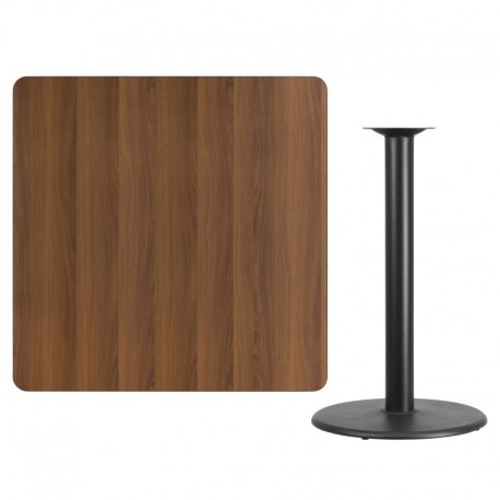 MFO 42'' Square Walnut Laminate Table Top with 24'' Round Bar Height Table Base