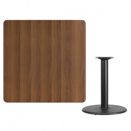 MFO 42'' Square Walnut Laminate Table Top with 24'' Round Table Height Base