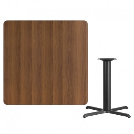MFO 42'' Square Walnut Laminate Table Top with 33'' x 33'' Table Height Base