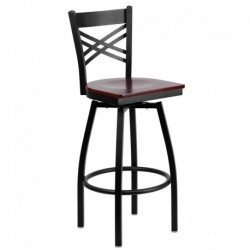 MFO Black ''X'' Back Swivel Metal Bar Stool - Mahogany Wood Seat