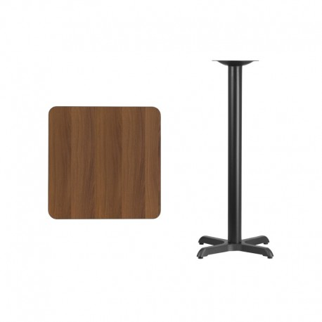 MFO 24'' Square Walnut Laminate Table Top with 22'' x 22'' Bar Height Table Base
