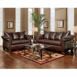 MFO Living Room Set in Taos Mahogany Leather
