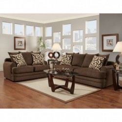 MFO Living Room Set in Caliber Walnut Chenille