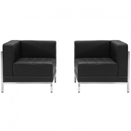 MFO Immaculate Collection Black Leather 2 Piece Corner Chair Set