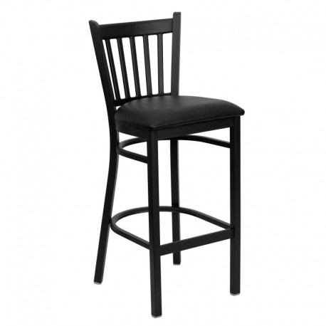 MFO Black Vertical Back Metal Restaurant Bar Stool - Black Vinyl Seat