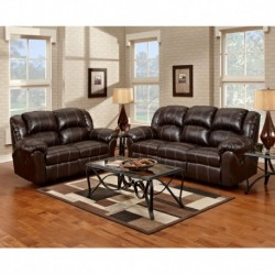 MFO Reclining Living Room Set in Brandon Brown Leather