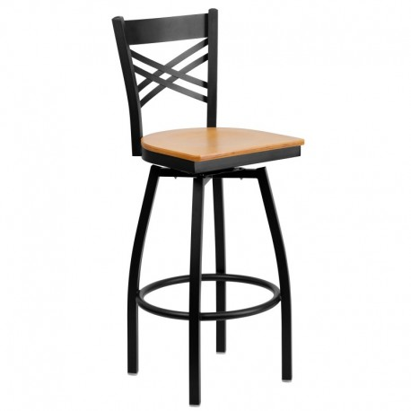 MFO Black ''X'' Back Swivel Metal Bar Stool - Natural Wood Seat