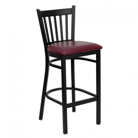 MFO Black Vertical Back Metal Restaurant Bar Stool - Burgundy Vinyl Seat
