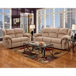 MFO Reclining Living Room Set in Sensations Camel Microfiber