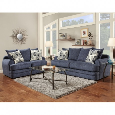 MFO Living Room Set in Caliber Navy Chenille
