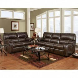 MFO Reclining Living Room Set in Canyon Chocolate Leather