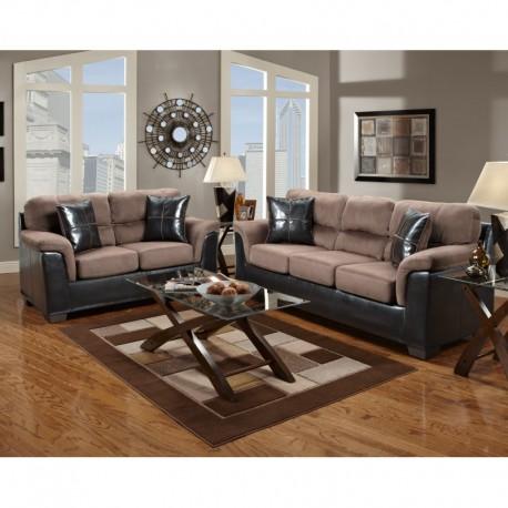 MFO Living Room Set in Laredo Chocolate Microfiber