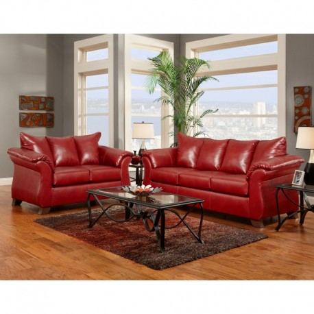 MFO Living Room Set in Sierra Red Leather
