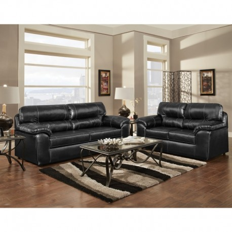 MFO Living Room Set in Taos Black Leather