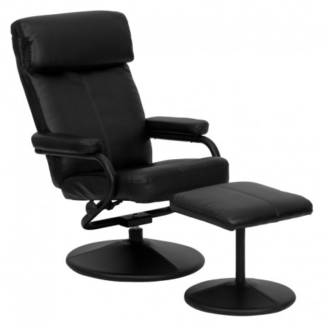 MFO Contemporary Black Leather Recliner and Ottoman with Leather Wrapped Base