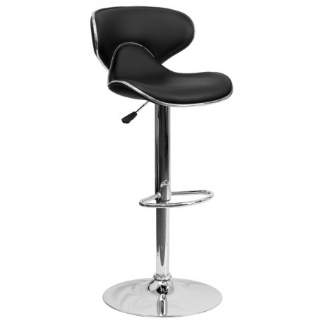MFO Contemporary Cozy Mid-Back Black Vinyl Adjustable Height Bar Stool with Chrome Base