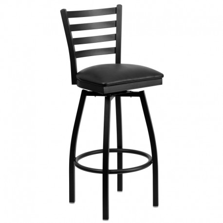 MFO Black Ladder Back Swivel Metal Bar Stool - Black Vinyl Seat