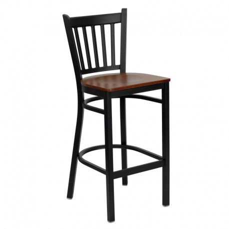 MFO Black Vertical Back Metal Restaurant Bar Stool - Cherry Wood Seat