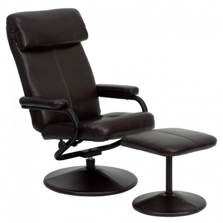 MFO Contemporary Brown Leather Recliner and Ottoman with Leather Wrapped Base
