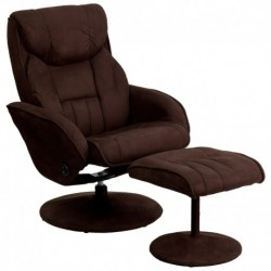 MFO Contemporary Brown Microfiber Recliner and Ottoman with Circular Microfiber Wrapped Base