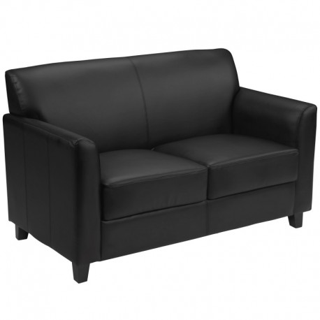 MFO Able Collection Black Leather Love Seat