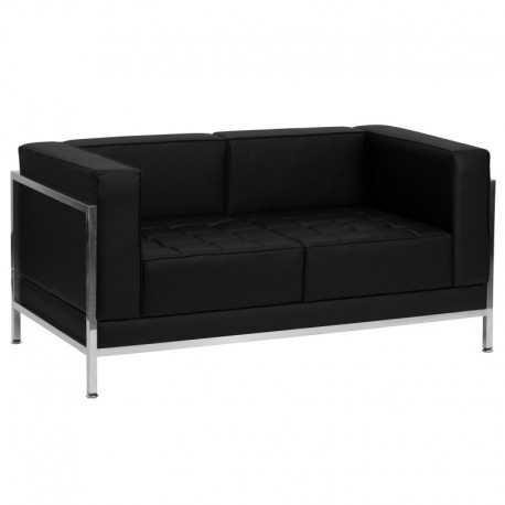 MFO Immaculate Collection Contemporary Black Leather Love Seat with Encasing Frame