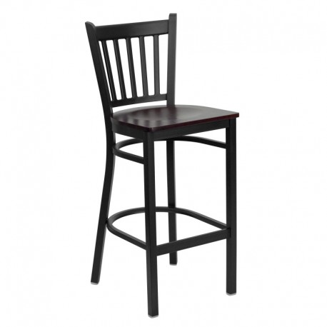 MFO Black Vertical Back Metal Restaurant Bar Stool - Mahogany Wood Seat