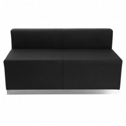 MFO Inspiration Collection Black Leather Loveseat with Brushed Stainless Steel Base