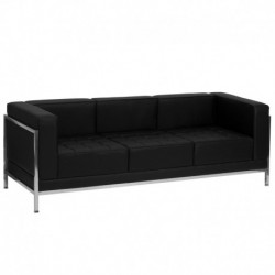 MFO Immaculate Collection Contemporary Black Leather Sofa with Encasing Frame