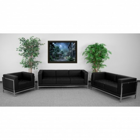 MFO Immaculate Collection Black Leather 3 Piece Sofa Set