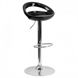 MFO Contemporary Black Plastic Adjustable Height Bar Stool with Chrome Base