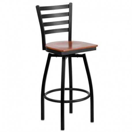 MFO Black Ladder Back Swivel Metal Bar Stool - Cherry Wood Seat