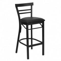 MFO Black Ladder Back Metal Restaurant Bar Stool - Black Vinyl Seat
