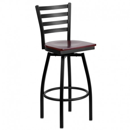 MFO Black Ladder Back Swivel Metal Bar Stool - Mahogany Wood Seat