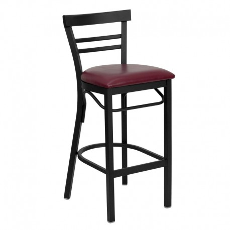 MFO Black Ladder Back Metal Restaurant Bar Stool - Burgundy Vinyl Seat