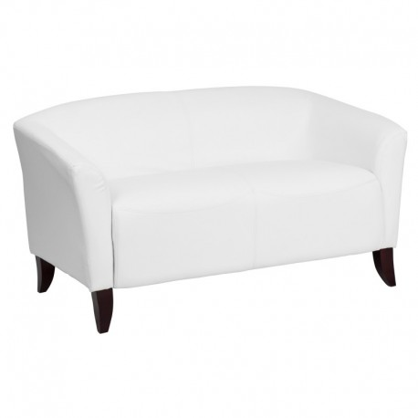 MFO Emperor Collection White Leather Love Seat