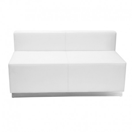 MFO Inspiration Collection White Leather Loveseat with Brushed Stainless Steel Base