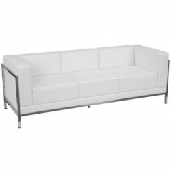 MFO Immaculate Collection Contemporary White Leather Sofa with Encasing Frame